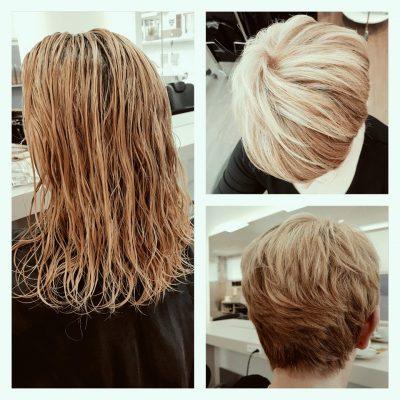 vorher nachher - lange kurze Haare