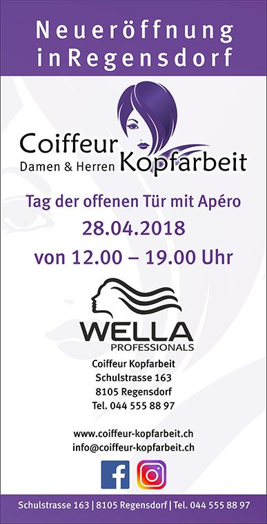 Flyer Neueroeffnung Coiffeur Kopfarbeit in Regensdorf